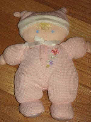 Carters Child of Mine Baby Doll Rattle Pink Thermal Pajamas Blond Hair Butterfly Flower 6338