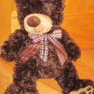 Kellytoy 20 Inch Plush Dark Brown Teddy Bear Leather Paw Print Feet Plaid Sheer Ribbon Kelly Toy