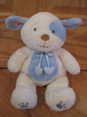 Kids Preferred Cream White Plush Puppy Dog Blue Ears Tummy
