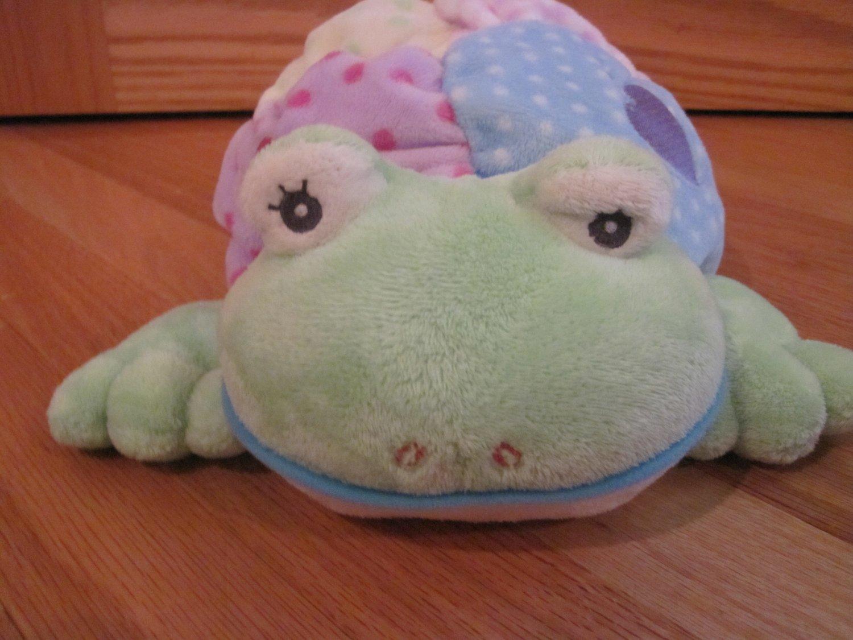 Aurora Baby Crinkle Friend Croaker Plush Pastel Frog Toy Rattle Squeak