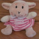 Kellytoy Lamb Pink Terry Stripe Dress Swirl Cheeks Plush Sheep Toy S008