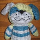 Baby Animal Adventure 2006 Plush Knit Crochet Puppy Dog Green Blue & Teal Stripes