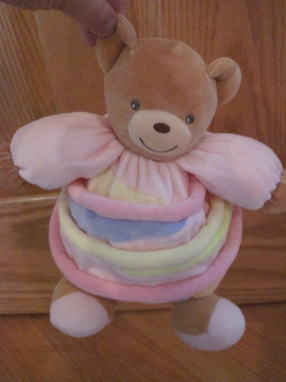 Kaloo Tan Teddy Bear Plush Pastel Stripes Pink Sleeves Baby Toy