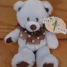 First & Main Blue & Brown Plush Blue Beary Teddy Bear Polka Dot Bow 2084