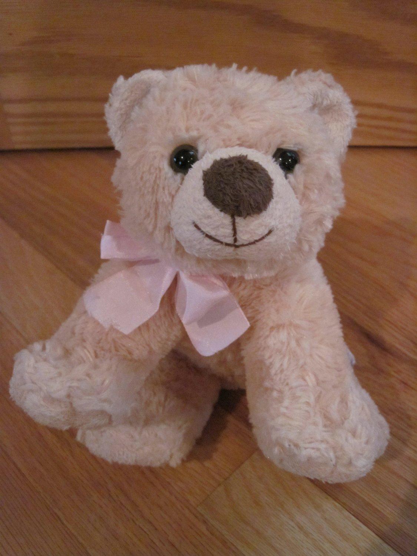 Russ Berrie Teddy Of Mine Plush Beige Tan Teddy Bear Brown Nose Pink Ribbon Item 21730