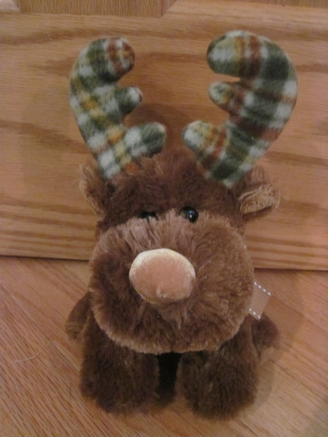 Russ Berrie Plush Brown Moose Named Marty Green Plaid Horns Antlers #32741