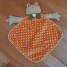 Green Satin Minky Frog Security Blanket Lovey Orange & White Polka Dots Green Bow Tie