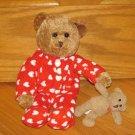 Target Galerie Plush Brown Bear in Red & White Heart Footie Pajamas Pjs