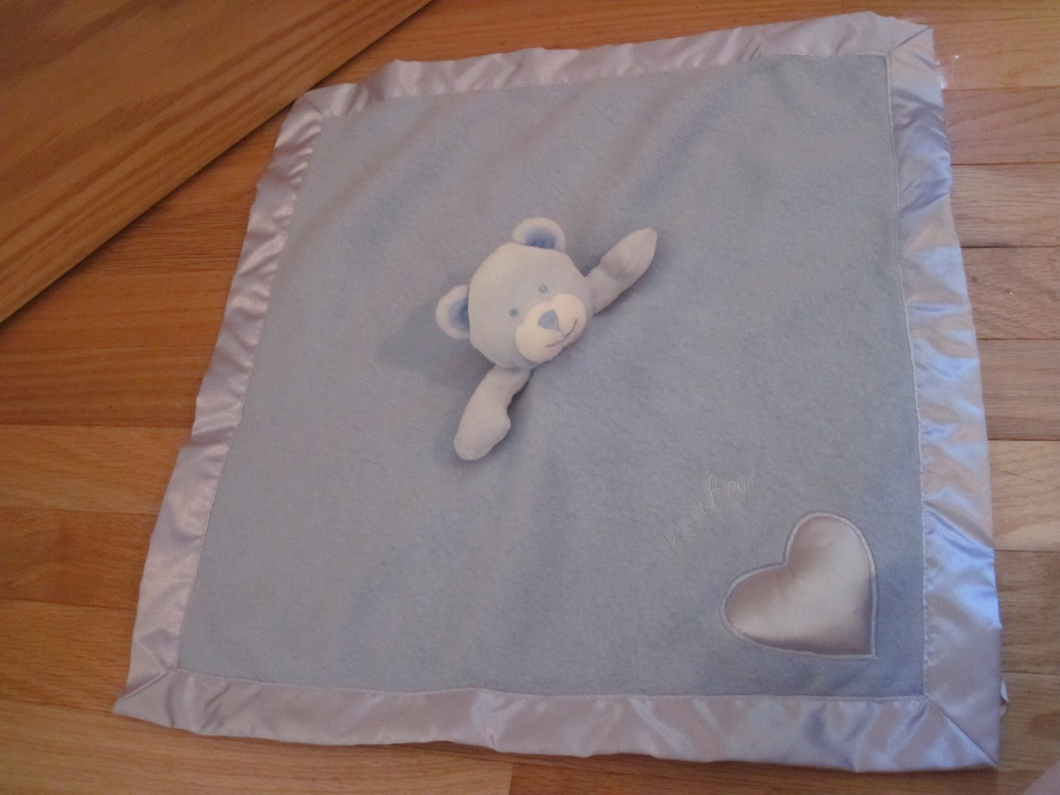 Baby Boom It's A Boy Blue Fleece Satin Teddy Bear Security Blanket Lovey Heart Musical
