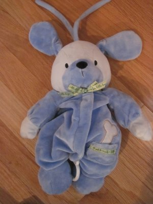 Carters Child of Mine Blue Musical Puppy Dog Pull Crib Toy Bone Thank Heaven for Little Boys 89442