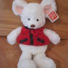 Gund Plush White Mouse Mojo Jr. #88831 Red & Green Holiday Christmas Vest