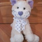 Animal Adventure Cream White Purple Heart Nose Ribbon Kitty Cat Plush Toy