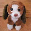 Vintage Russ Berrie Tired Sad Brown White Puppy Dog Named Baxter Plush Toy 146