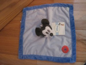 Disney Kids Line Mod Mickey Blue Security Blanket Lovey Red Button