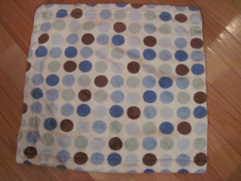Carters Cream Blue Brown Green Polka Dots Spots Plush Baby
