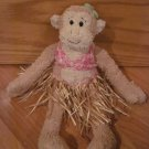 Pottery Barn Kids Gund Plush Girl Monkey with Hawaiian Bikini Grass Skirt Hula Talking Sounds