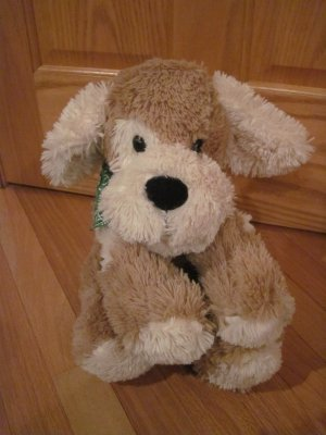 Circo Target Brand Large Fluffy Beige Tan & Cream Floppy Puppy Dog with Green Bandanna