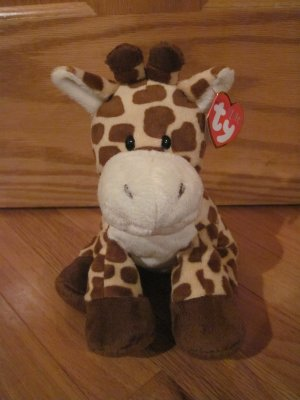 Ty Pluffies Plush Giraffe Named Tiptop with Tags Tylux  2011 Hard Oval Eyes