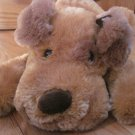 Goffa Intl Plush Golden Brown Puppy Laying Dog Eye Patch Red Ribbon Bow