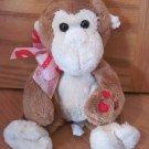 Caltoy Plush Brown & Cream Monkey Hearts on Hand Lip XOXO Valentine Ribbon