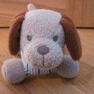 Tan Beige Plush Wiener Puppy Dog Rattle Brown Ears Blue Stripe Shirt
