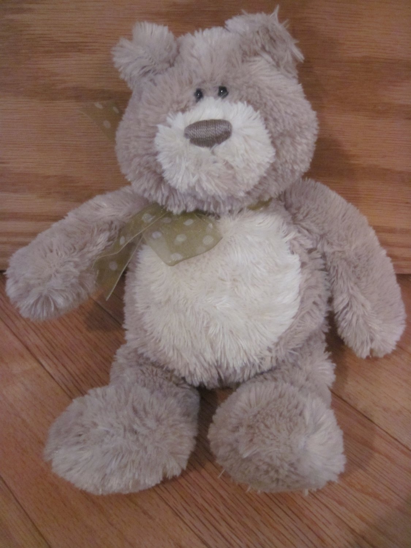 Gund Tan Beige Cream Plush Teddy Bear Named Ethan Polka Dot Ribbon 15287