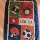 No Jo Luxe Thick Pile Sports Baby Blanket Navy Tan Red Soccer Baseball Mitt Helmet Score Stars