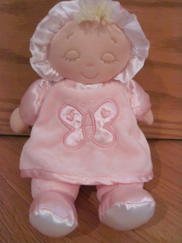 Kids Preferred Pink Blond Butterfly Doll Satin Feet Bonnet Closed Sleepy Eyes