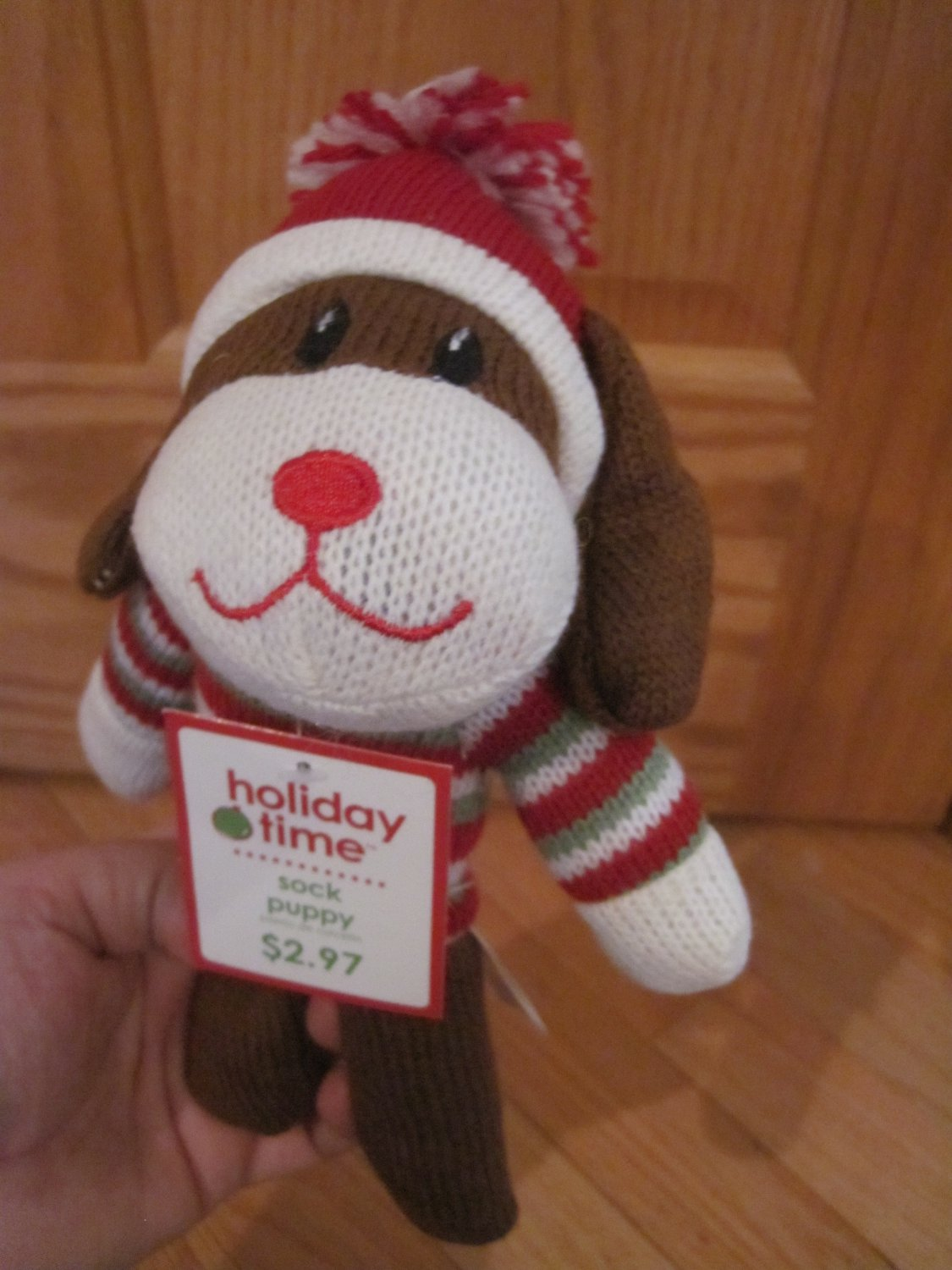 Dandee Collectors Choice Brown Knit Sock Puppy Dog Red
