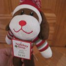 Dandee Collectors Choice Brown Knit Sock Puppy Dog Red Green White Stripe Sweater Hat Mittens
