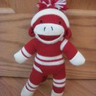 Dandee Collectors Choice Red Cream White Stripe Knit Sock Monkey With Hat Pom Pom