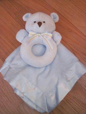 Carter's Snuggle Me Blankie & Rattle Blue Teddy Bear Lovey Set 99584