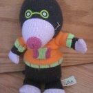 Latitude Enfant Knit Plush Alice the Mole Wearing Orange Green Pink Sweater