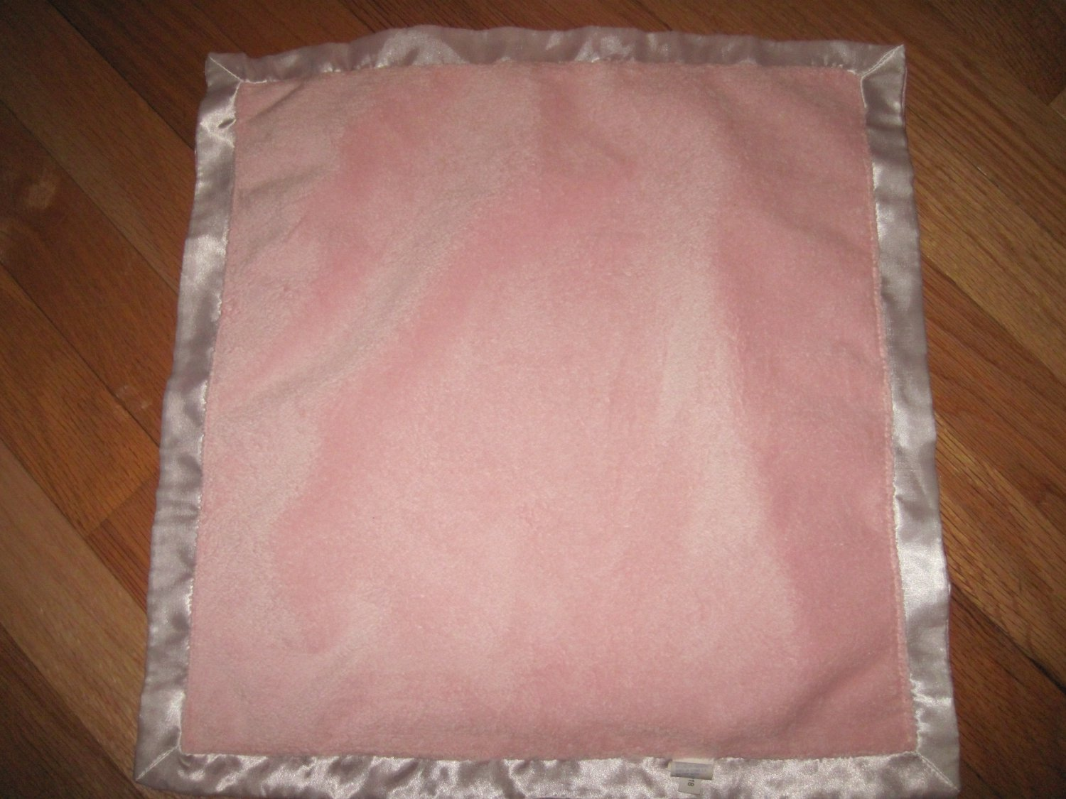 Baby Gund Pink Minky Security Blanket White Satin Edge Pink Satin Back Lovey 1006218