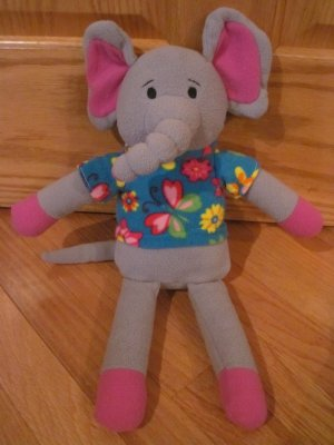 Dandee Gray Fleece Sock Elephant Plush Pink Ears Blue Floral Flower Shirt Butterfly Hawaiian