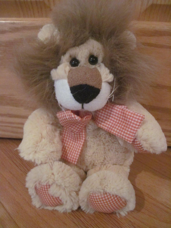 Animal Adventure Plush Lion Brown Hair Orange Gingham Plaid Hands Feet Bow