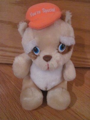 Vintage Russ Berrie Plush Raccoon Wearing Orange You're Special Hat 736