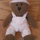 Baby Gap Brown Curly Plush Bear Black Stitched Eyes Nose Pink Bib Overalls Hat