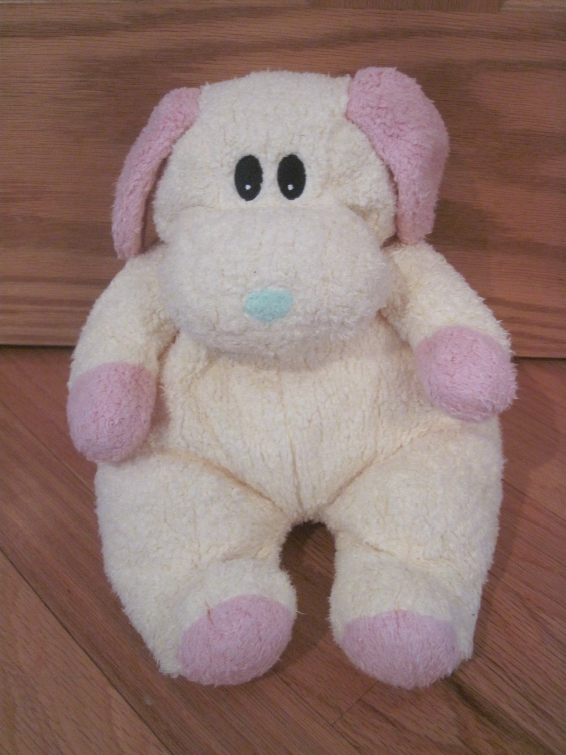 ty baby dogbaby yellow pink chenille puppy dog rattle plush lovey toy