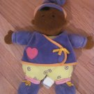 Manhattan Toys Plush Baby Doll African American Black Dark Skin Purple Outfit Yellow Swirl