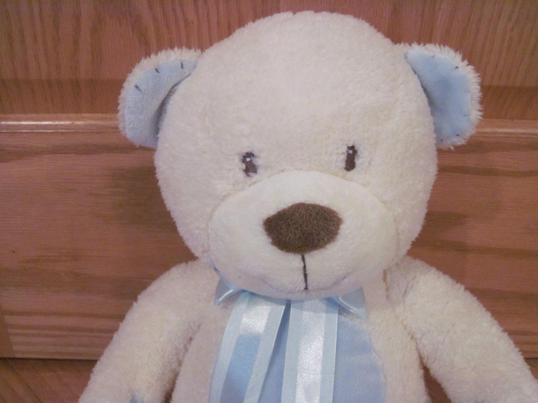 Russ Baby Rikey Austin Plush Chenille Chamois 16 Inch Cream Blue Teddy Bear Stitched Ribbon 34675