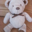 Carters Plush Tan Beige Teddy Bear Stitched Eyes Flocked Nose Brown Satin Ribbon Bow 49945
