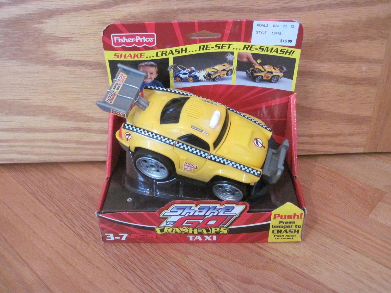 fisher price shake 39 n go crash ups taxi shake go car race track toy. Black Bedroom Furniture Sets. Home Design Ideas