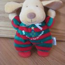 Soft Dreams Plush My 1st First Christmas Puppy Dog Green Red Stripes Rattle 87134
