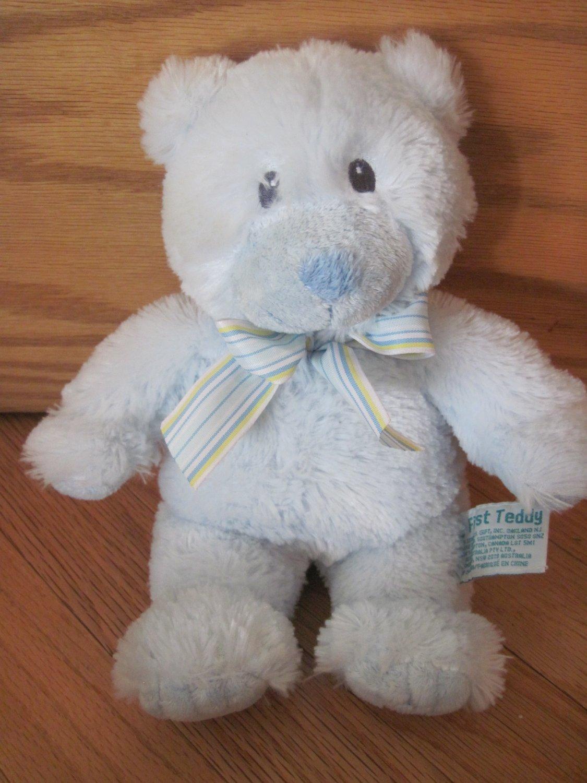 Russ Baby Russ Berrie Blue Plush 10 Inch My First Teddy Bear Striped Ribbon 25912