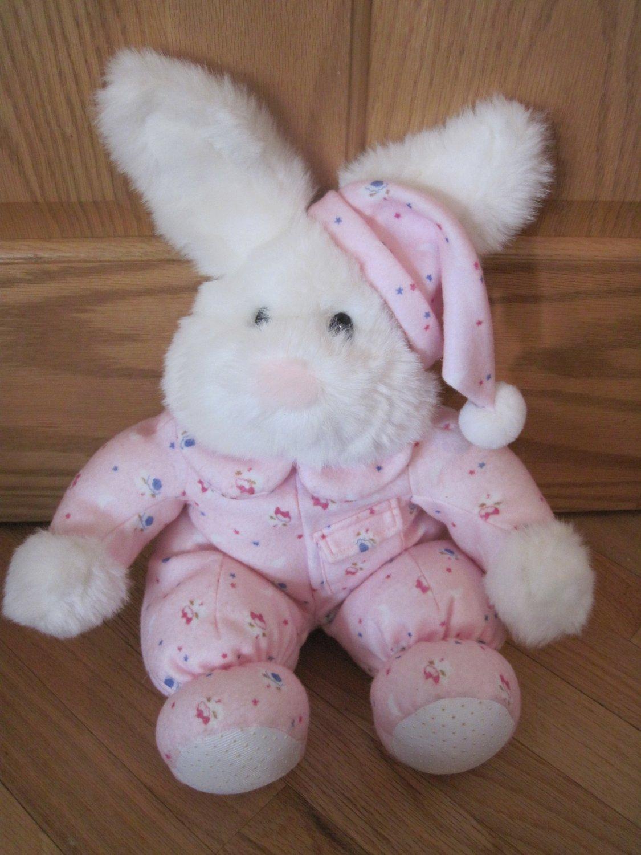 Commonwealth Plush White Bunny Rabbit Pink Fleece Pajamas Cap Hat Stars Moon Sheep