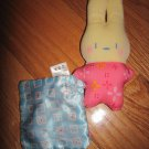 Fisher Price Rock & N Play Cream Pink Bunny Rabbit Plush Rattle Toy Blue Square Satin Blanket V9102