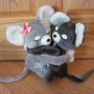 Vintage Dakin 1976 Plush Stuffed Gray Eeny & Meeny Mice Mouse Hugging Kissing Sweetheart