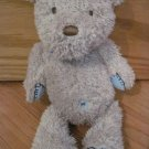 Carters Made with Love Tan Beige Teddy Bear Blue Ribbon Belly Button Stitched Hands Feet 49296