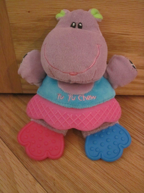 Kids 2 Grow Tu Tu Chew Plush Purple Hippo Teether Chime Baby Toy